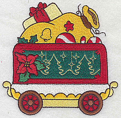 Embroidery Design: Train with Santa's sack large4.56w X 4.50h