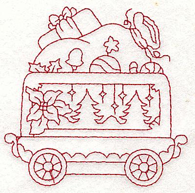 Embroidery Design: Train with Santa's sack redwork 3.55w X 3.51h