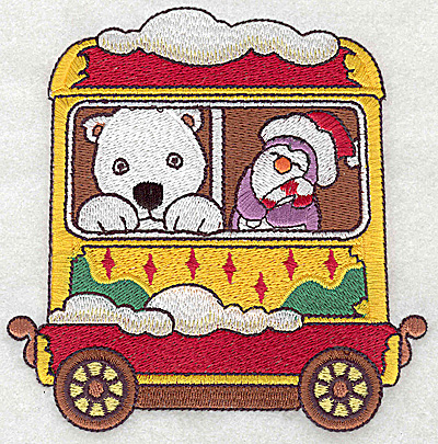 Embroidery Design: Train with polar bear and penguin large 4.86w X 4.91h