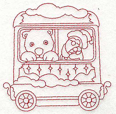 Embroidery Design: Train with polar bear and penguin redwork 3.78w X 3.82h