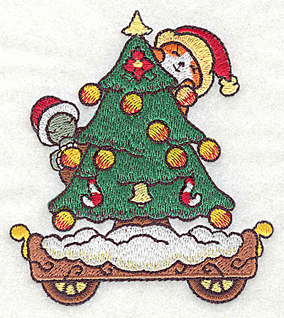 Embroidery Design: Train with Christmas tree small 3.36w X 3.84h