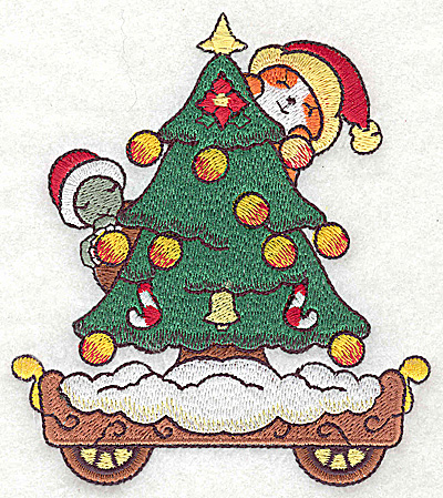 Embroidery Design: Train with Christmas tree large 4.30w X 4.91h