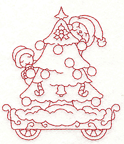 Embroidery Design: Train with Christmas tree redwork 3.34w X 3.84h