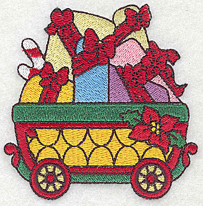 Embroidery Design: Train with gift parcels small 3.59w X 3.63h