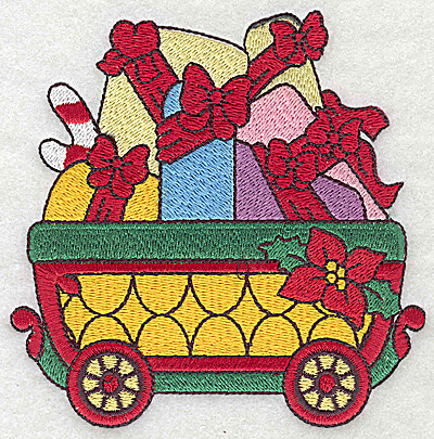 Embroidery Design: Train with gift parcels large 4.59w X 4.64h