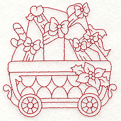 Embroidery Design: Train with gift parcels redwork 3.58w X 3.61h