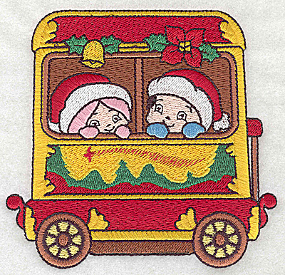 Embroidery Design: Train with children large 4.74w X 4.51h