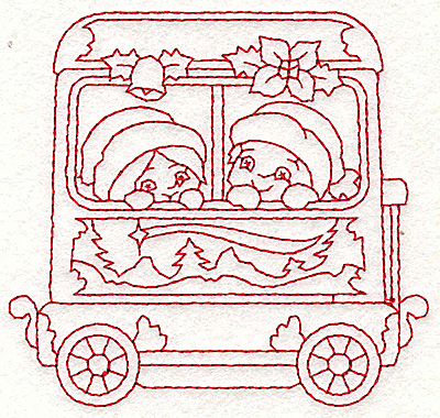 Embroidery Design: Train with children redwork 3.70w X 3.51h