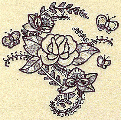 Embroidery Design: Rose and butterfly large 6.27w X 6.14h