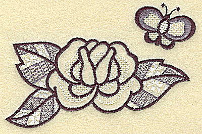 Embroidery Design: Rose and butterfly 4.54w X 2.94h
