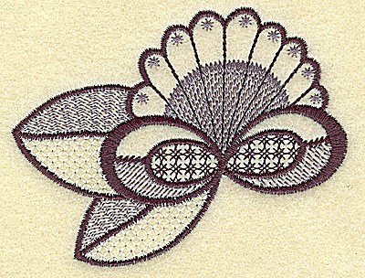 Embroidery Design: Floral fan 3.62w X 2.78h