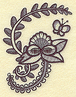 Embroidery Design: Floral fan with butterfly and vines 2.97w X 3.84h