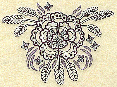 Embroidery Design: Flower with wheat medium 6.45w X 4.85h