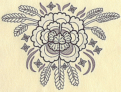 Embroidery Design: Flower with wheat large 9.34w X 6.97h