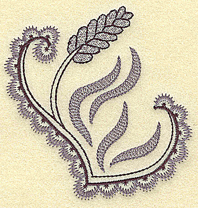 Embroidery Design: Wheat and swirls 3.63w X 3.77h