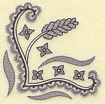 Embroidery Design: Wheat swirls and blossoms 3.77w X 3.86h
