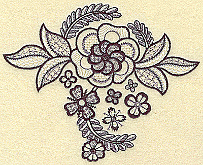 Embroidery Design: Large bloom with mini flowers 6.93w X 5.62