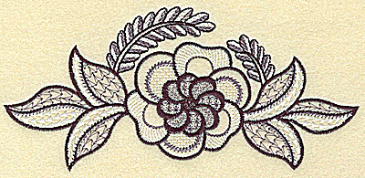 Embroidery Design: Bloom with leaves and vines 6.93w X 3.22h