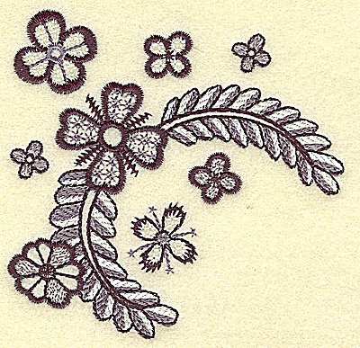 Embroidery Design: Blossoms and vines 3.85w X 3.77h