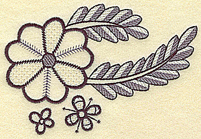 Embroidery Design: Large bloom mini flowers and vine 4.93w X 3.39h