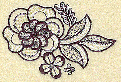 Embroidery Design: Flowers leaves and vines 4.91w X 3.32h