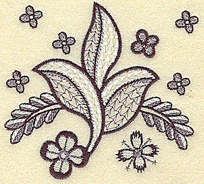 Embroidery Design: Leaves vines and blossoms 3.85w X 3.63h