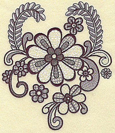 Embroidery Design: Daisy vines and swirls large 5.83w X 6.79h