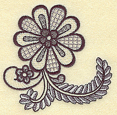 Embroidery Design: Daisy vines and swirls small 3.78w X 3.75h