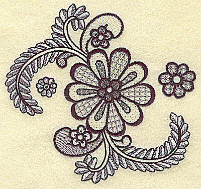 Embroidery Design: Flowers and vines 5.26w X 4.95h