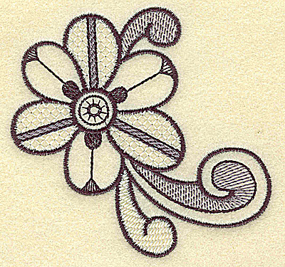 Embroidery Design: Flower and swirls 3.72w X 3.58h
