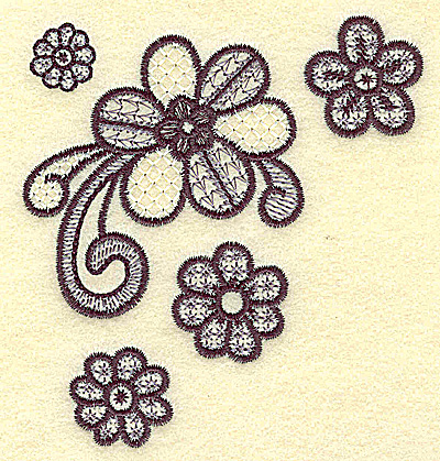 Embroidery Design: Blooms and swirls 3.86w X 3.65h