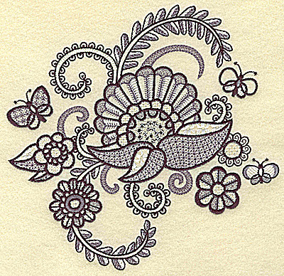 Embroidery Design: Flowers butterflies and vines large 6.98w X 6.78h