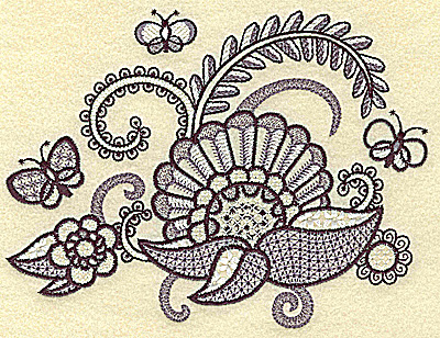 Embroidery Design: Flowers butterflies and vines medium 6.50w X 4.89h