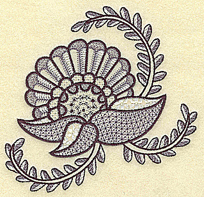 Embroidery Design: Flower and vines 4.87w X 4.70h