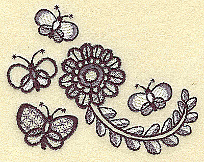 Embroidery Design: Butterflies and flower 3.89w X 3.04h