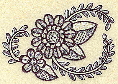 Embroidery Design: Flowers vines and leaves  4.90w X 3.54h