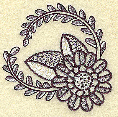 Embroidery Design: Daisy and vines 3.62w X 3.52h