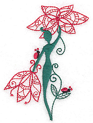Embroidery Design: Flower Soul J small 2.75w X 3.83h