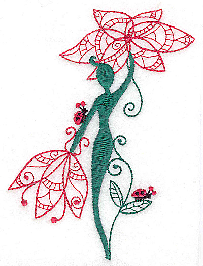 Embroidery Design: Flower Soul J large 3.56w X 4.97h