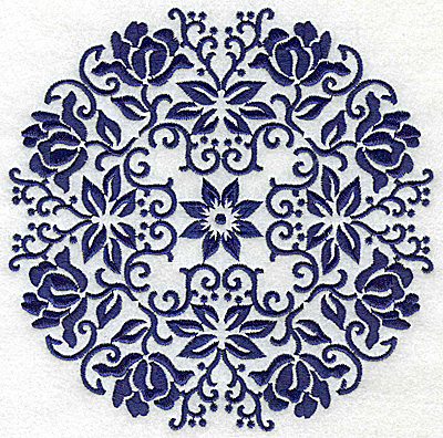 Embroidery Design: Fancy Circle D large 6.51w X 6.51h