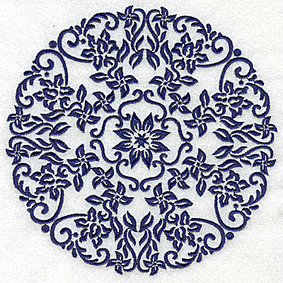 Embroidery Design: Fancy Circle E large 6.52w X 6.52h