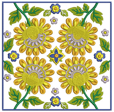 Embroidery Design: Floral Blocks 1 7.01w X 7.01h