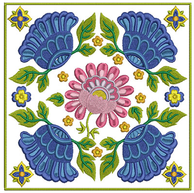 Embroidery Design: Floral Blocks 2 7.01w X 7.01h