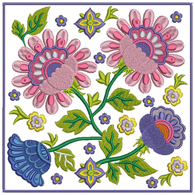Embroidery Design: Floral Blocks 3 7.02w X 7.02h