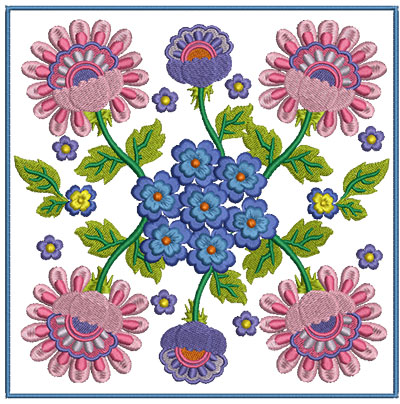 Embroidery Design: Floral Blocks 4 7.01w X 7.01h