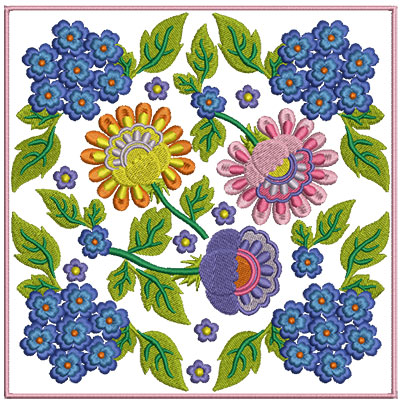 Embroidery Design: Floral Blocks 5 7.01w X 7.01h