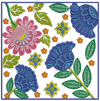 Embroidery Design: Floral Blocks 7 7.01w X 7.03h