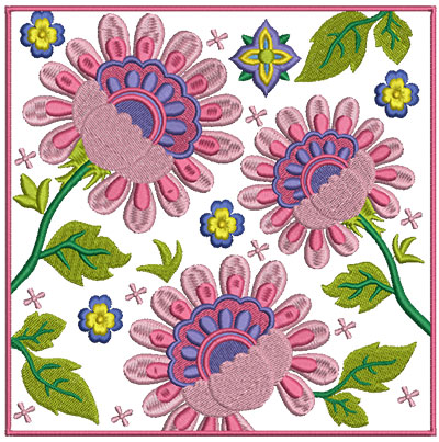 Embroidery Design: Floral Blocks 8 7.02w X 7.00h