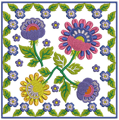 Embroidery Design: Floral Blocks 9 7.02w X 7.02h