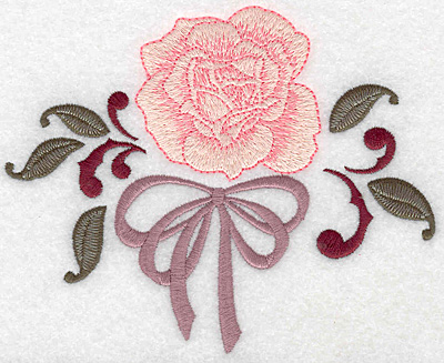 Embroidery Design: Rose and bow 5.73w X 4.60h
